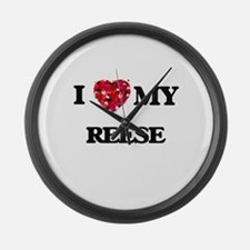 I Love MY Reese Large Wall Clock