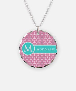 Aqua and Pink Anchor Pattern Personalized Necklace