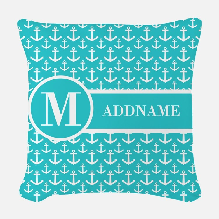Teal and White Anchors Monogra Woven Throw Pillow