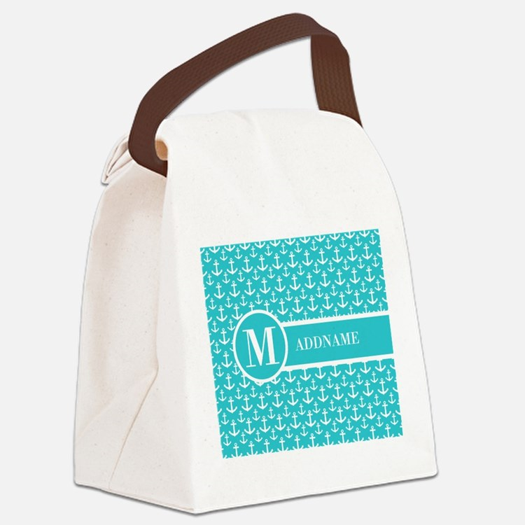 Teal and White Anchors Monogram Canvas Lunch Bag