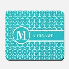 Teal and White Anchors Monogram Mousepad