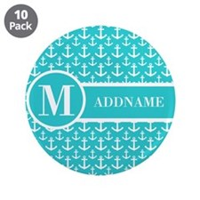 """Teal and White Anchors Monog 3.5"""" Button (10 pack)"""