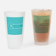 Teal and White Anchors Monogram Drinking Glass