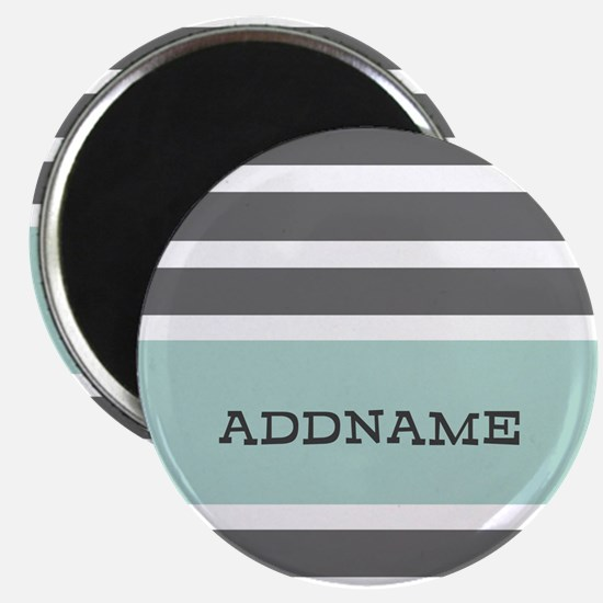 Gray and Mint Stripes Personalized Magnet