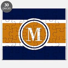 Navy and Yellow Color Block Custom Monogram Puzzle