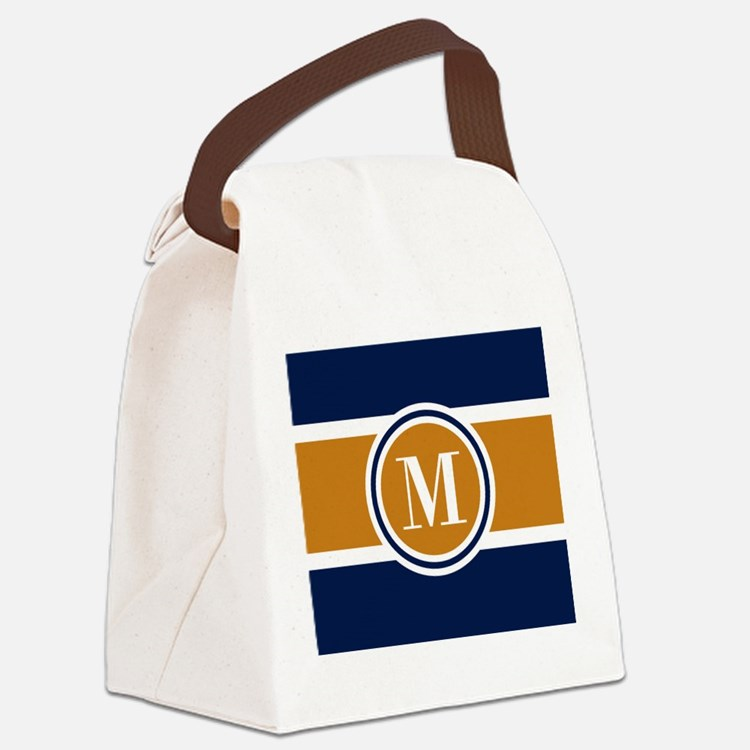 Navy and Yellow Color Block Custo Canvas Lunch Bag