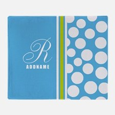 Turquoise and White Polka Dots Perso Throw Blanket