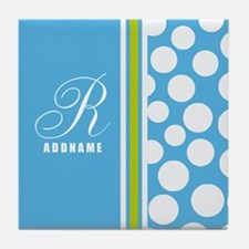 Turquoise and White Polka Dots Person Tile Coaster