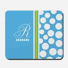 Turquoise and White Polka Dots Personali Mousepad