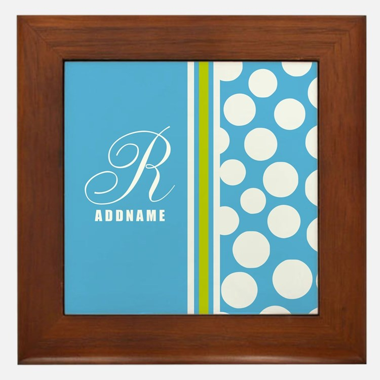 Turquoise and White Polka Dots Persona Framed Tile