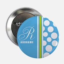 "Turquoise and White Polka Dots Person 2.25"" Button"