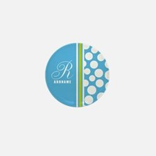 Turquoise and White Polka D Mini Button (100 pack)