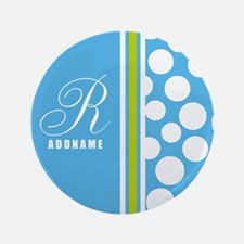 Turquoise and White Polka Dots Personalized Button