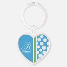 Turquoise and White Polka Dots Pers Heart Keychain