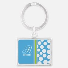 Turquoise and White Polka Dots Landscape Keychain