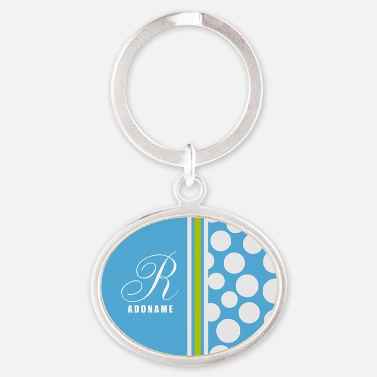 Turquoise and White Polka Dots Perso Oval Keychain