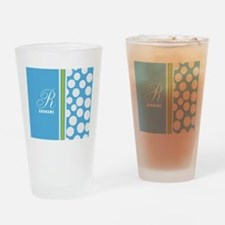 Turquoise and White Polka Dots Pers Drinking Glass