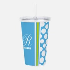 Turquoise and White Po Acrylic Double-wall Tumbler