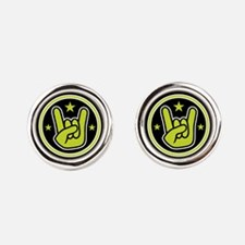 Satanic Horns Sign Devil's Hand He Round Cufflinks