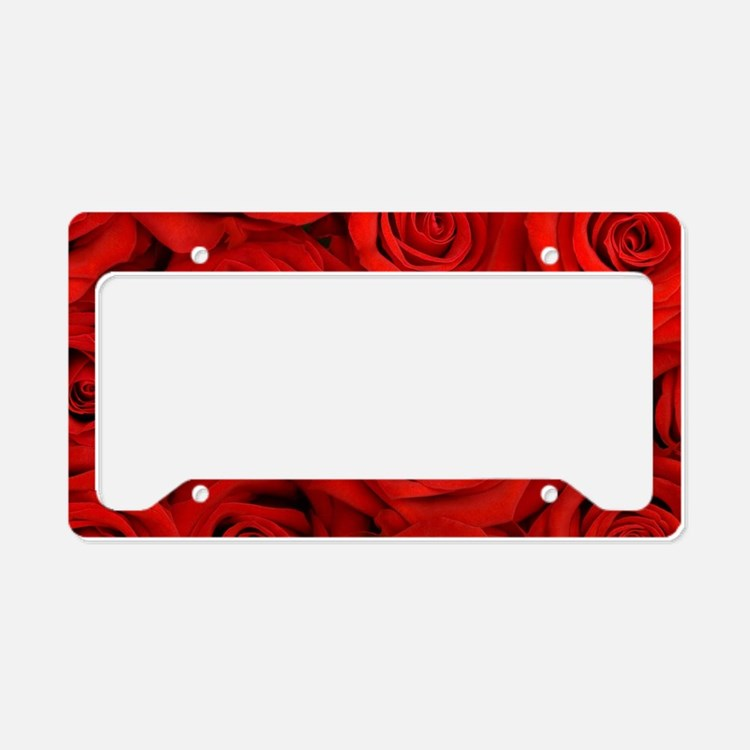 Red Roses License Plate Holder