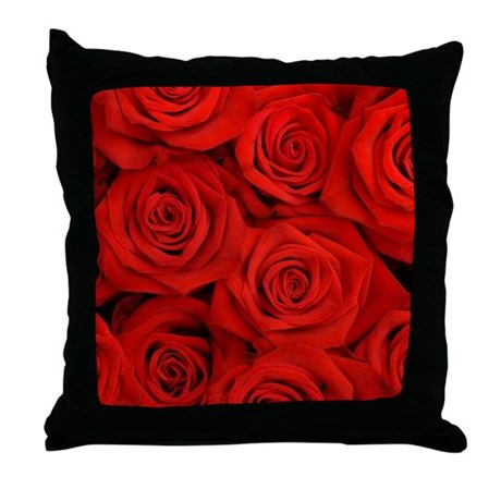 Red Roses Throw Pillow by WickedDesigns4