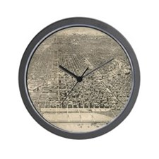 Vintage Pictorial Map of Chicago (1916) Wall Clock