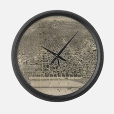 Vintage Pictorial Map of Chicago Large Wall Clock