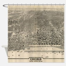 Vintage Pictorial Map of Chicago (1 Shower Curtain