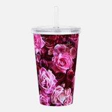 Pink And Red Roses Acrylic Double-wall Tumbler