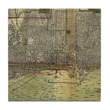 Vintage Map of Chicago (1892) Tile Coaster