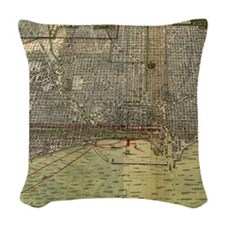 Vintage Map of Chicago (1892) Woven Throw Pillow