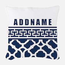 Navy Quatre Geek Personalized Woven Throw Pillow