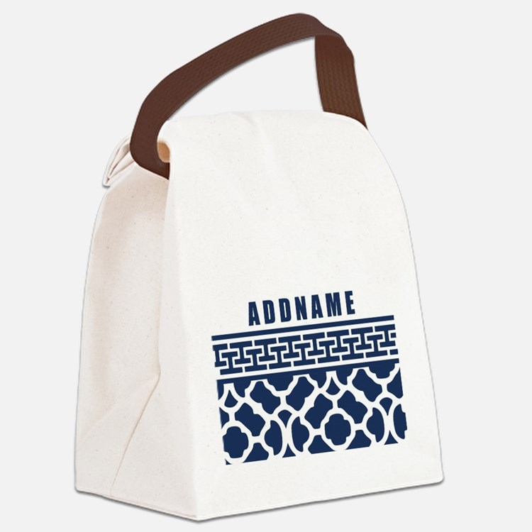 Navy Quatre Geek Personalized Canvas Lunch Bag