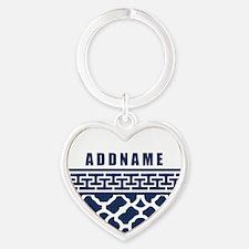 Navy Quatre Geek Personalized Heart Keychain