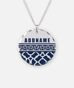 Navy Quatre Geek Personalize Necklace