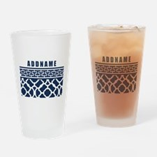 Navy Quatre Geek Personalized Drinking Glass