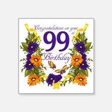 "99th Birthday Butterfly Square Sticker 3"" X 3"