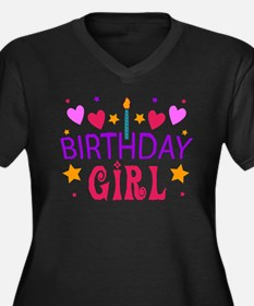 Birthday Girl Women's Plus Size V-Neck Dark T-Shir