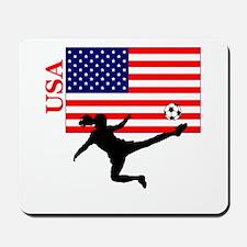 American Woman Soccer Player Mousepad