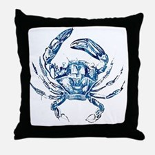 coastal nautical beach crab Throw Pillow