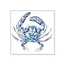 "coastal nautical beach crab Square Sticker 3"" x 3"""