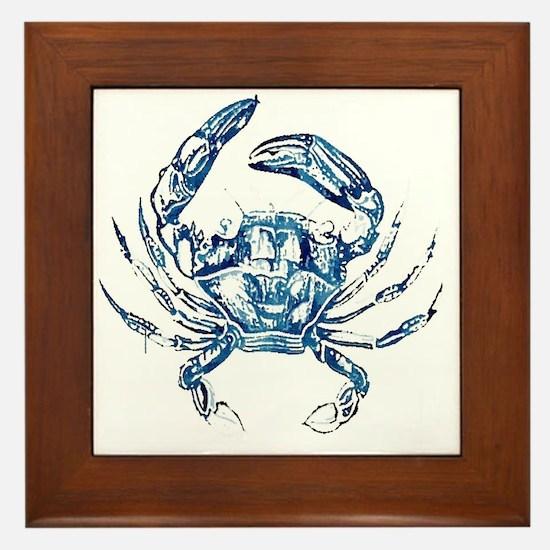 coastal nautical beach crab Framed Tile