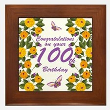 100th Birthday Floral And Butterfly Framed Tile