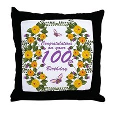 100th Birthday Floral And Butterfly Throw Pillow