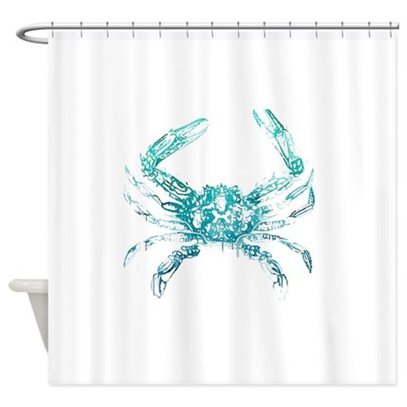 Coastal Nautical Beach Crab Shower Curtain