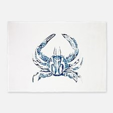 coastal nautical beach crab 5'x7'Area Rug