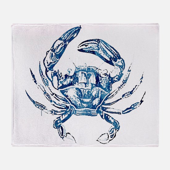 coastal nautical beach crab Throw Blanket