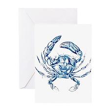 coastal nautical beach crab Greeting Cards