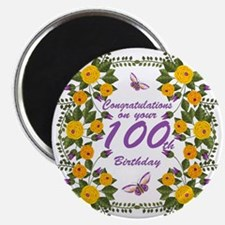 100th Birthday Floral And Butterfly Magnet Magnets