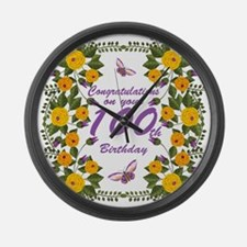 100th Birthday Floral Large Wall Clock
